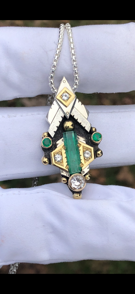 "Alchemy Series ""Gaia's Embrace"" Emerald and Phenakite Talisman"