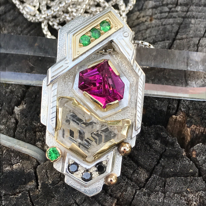 Munsteiner Tourmaline / etched phenakite / tsavorite garnet / black diamond pendant