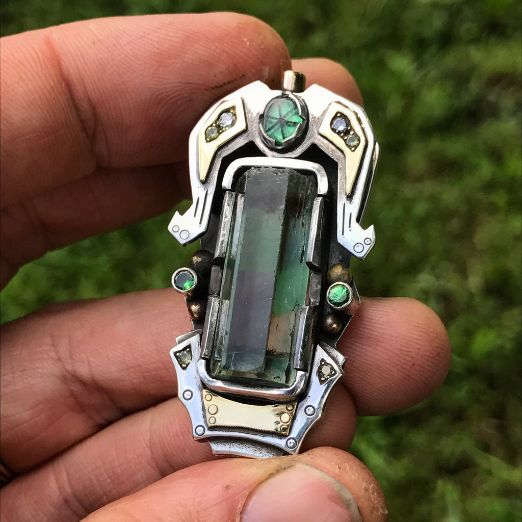 Nigerian Aquamarine, Diamond, Yellow sapphire, and Trapiche Emerald pendant