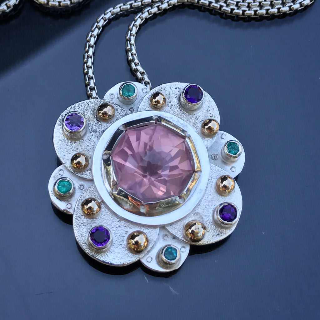 A Rose Quartz Mandala with Paraiba Tourmaline and amethyst