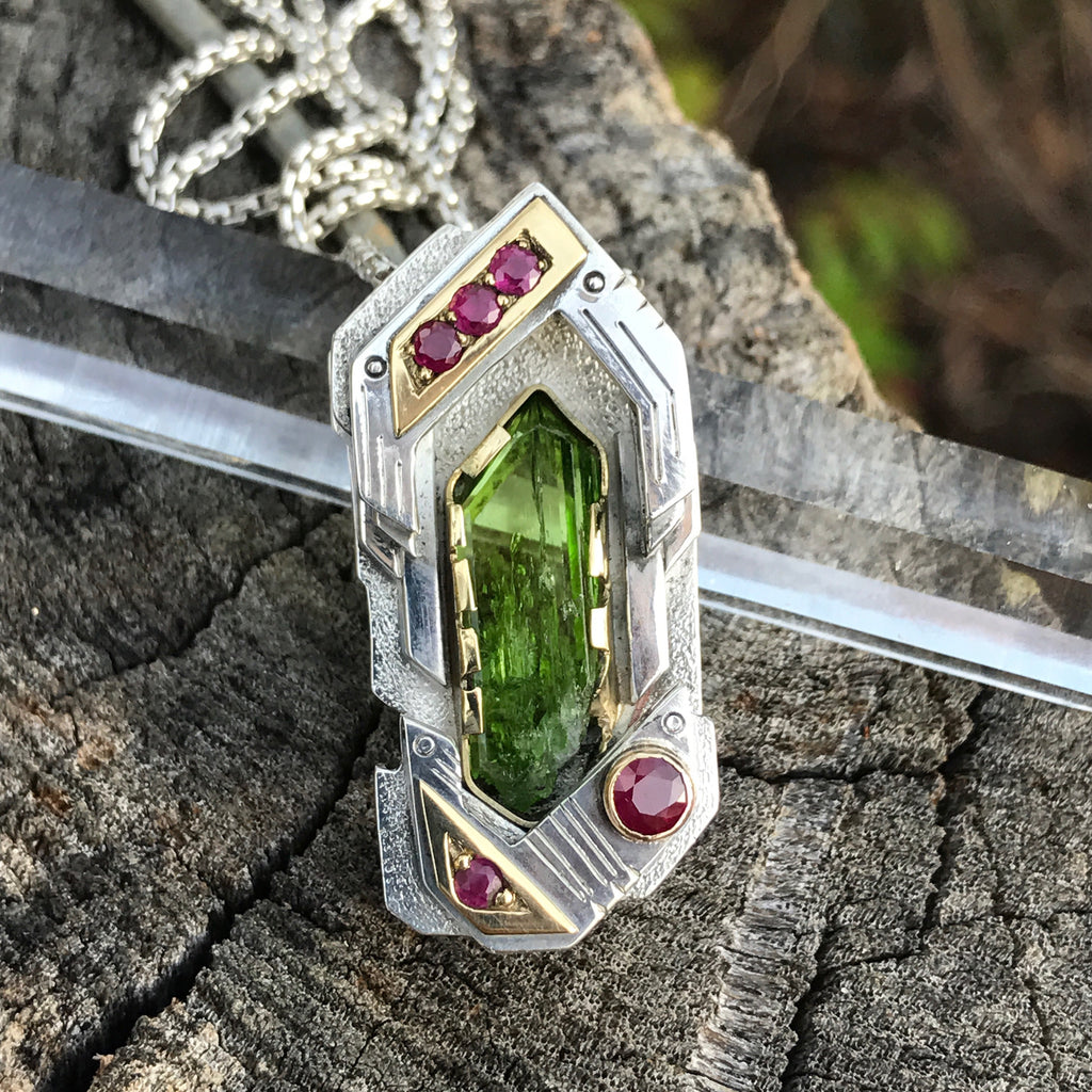 Diopside and ruby pendant