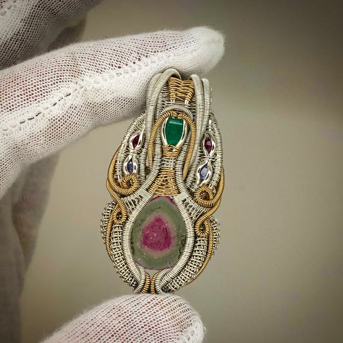 Tourmaline, emerald, spinel, and tanzanite wire wrap