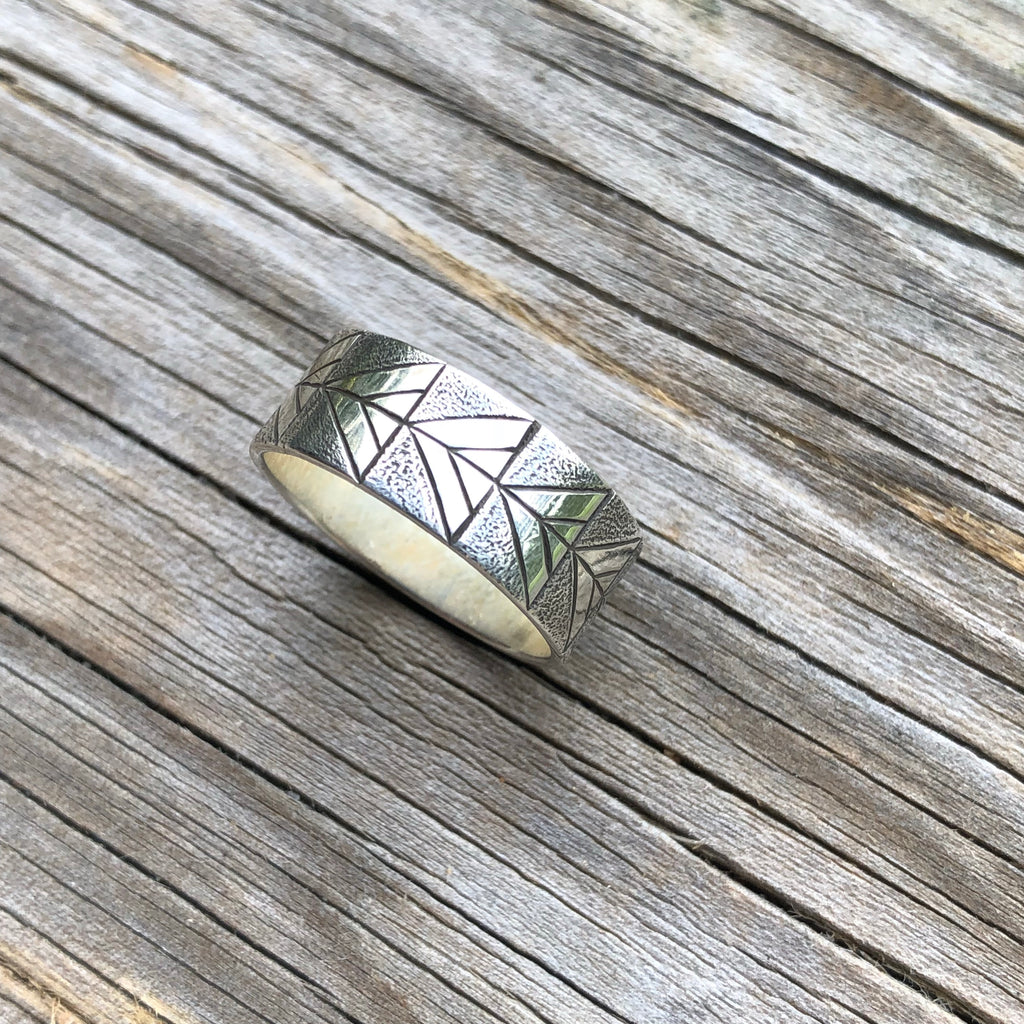 Engraved Silver ring - size 7.75-8