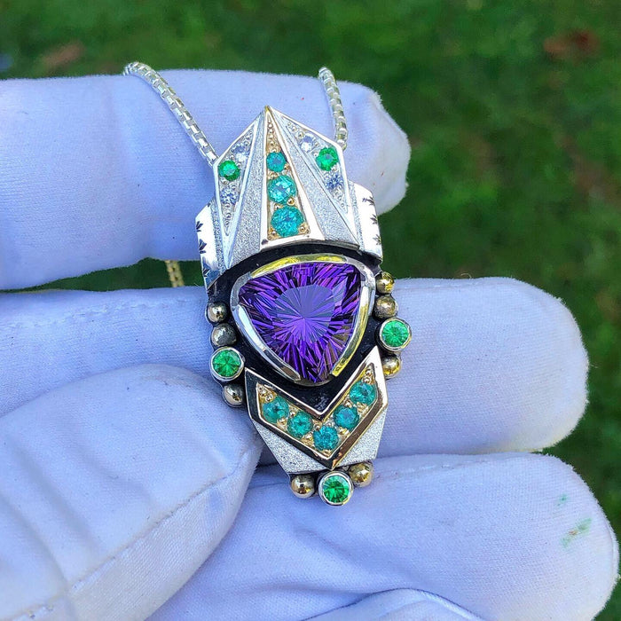 """Universal Connection"" Amethyst, paraiba tourmaline, tsavorite garnet, and phenakite talisman"