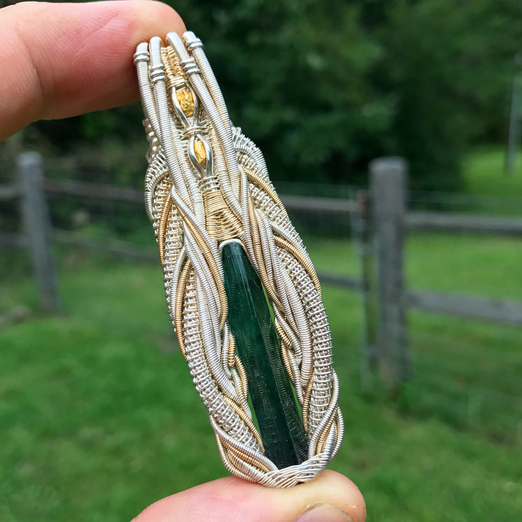 Tourmaline and gold symmetrical wire wrap