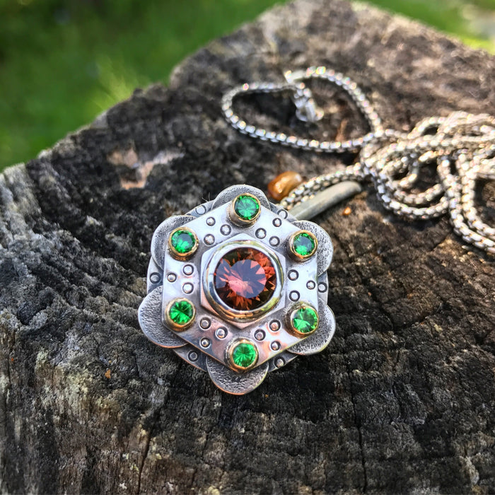 Liddicoatite Tourmaline and Tsavorite Mandala Pendant Collaboration with Ethan Donohue