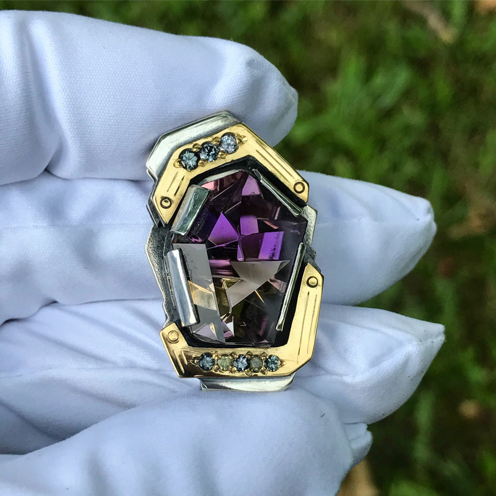 Munsteiner Ametrine, Color change Garnet, yellow sapphire pendant