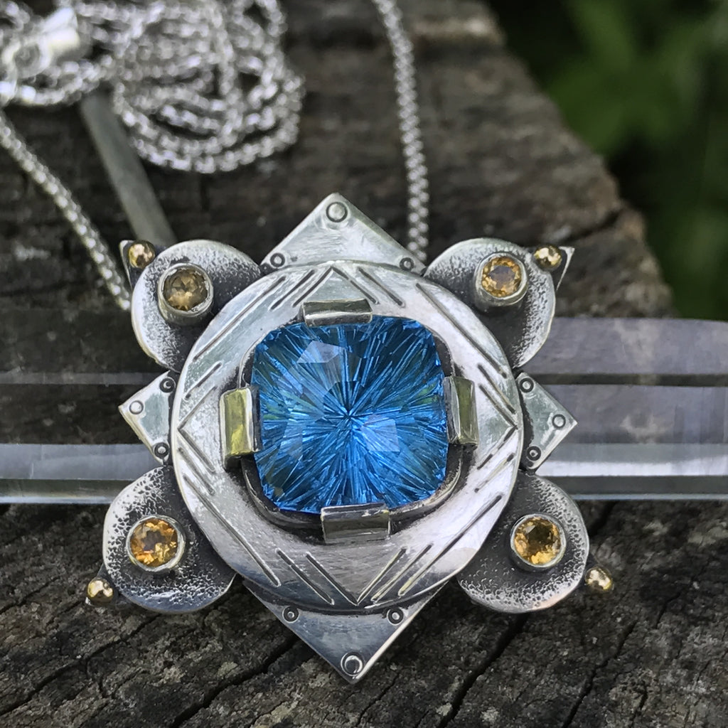 John Dyer Topaz and Citrine pendant