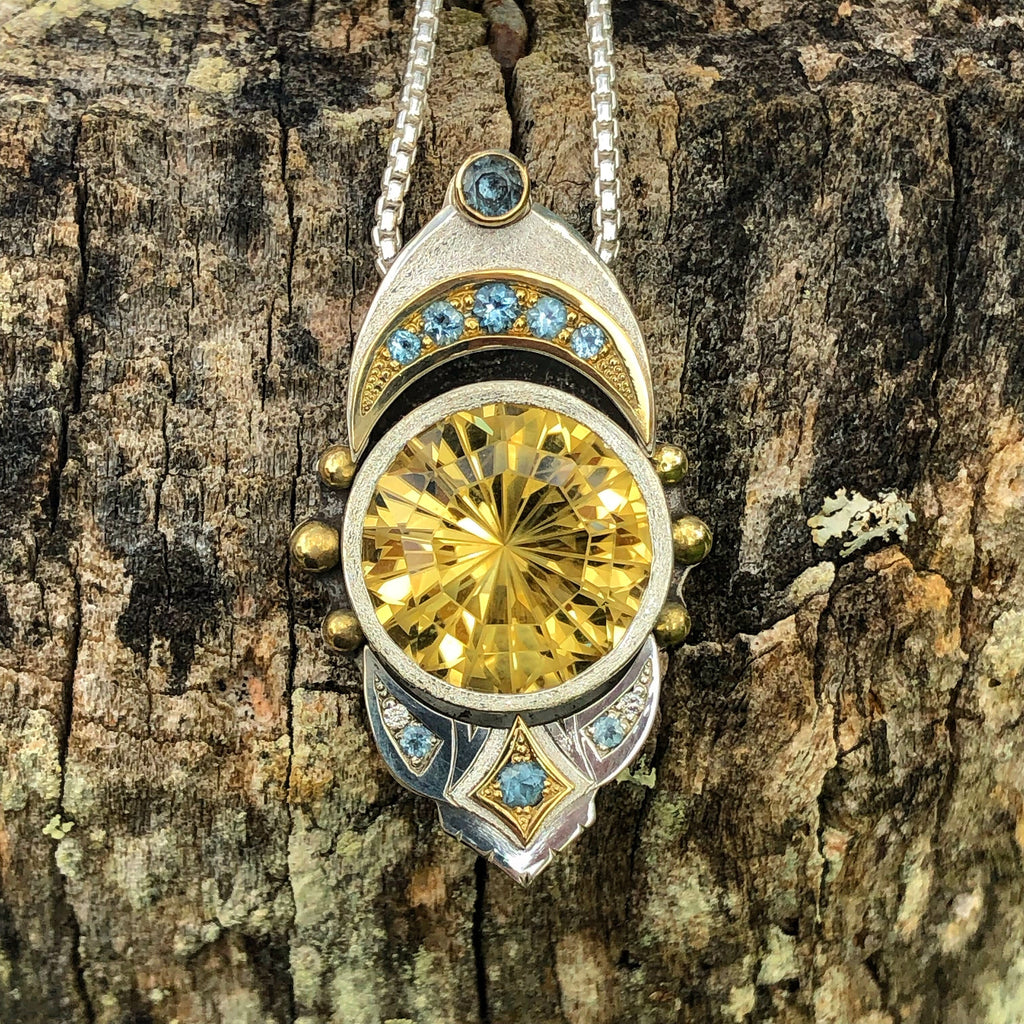 """Liquid Light"" - Citrine, Aquamarine and diamond pendant"