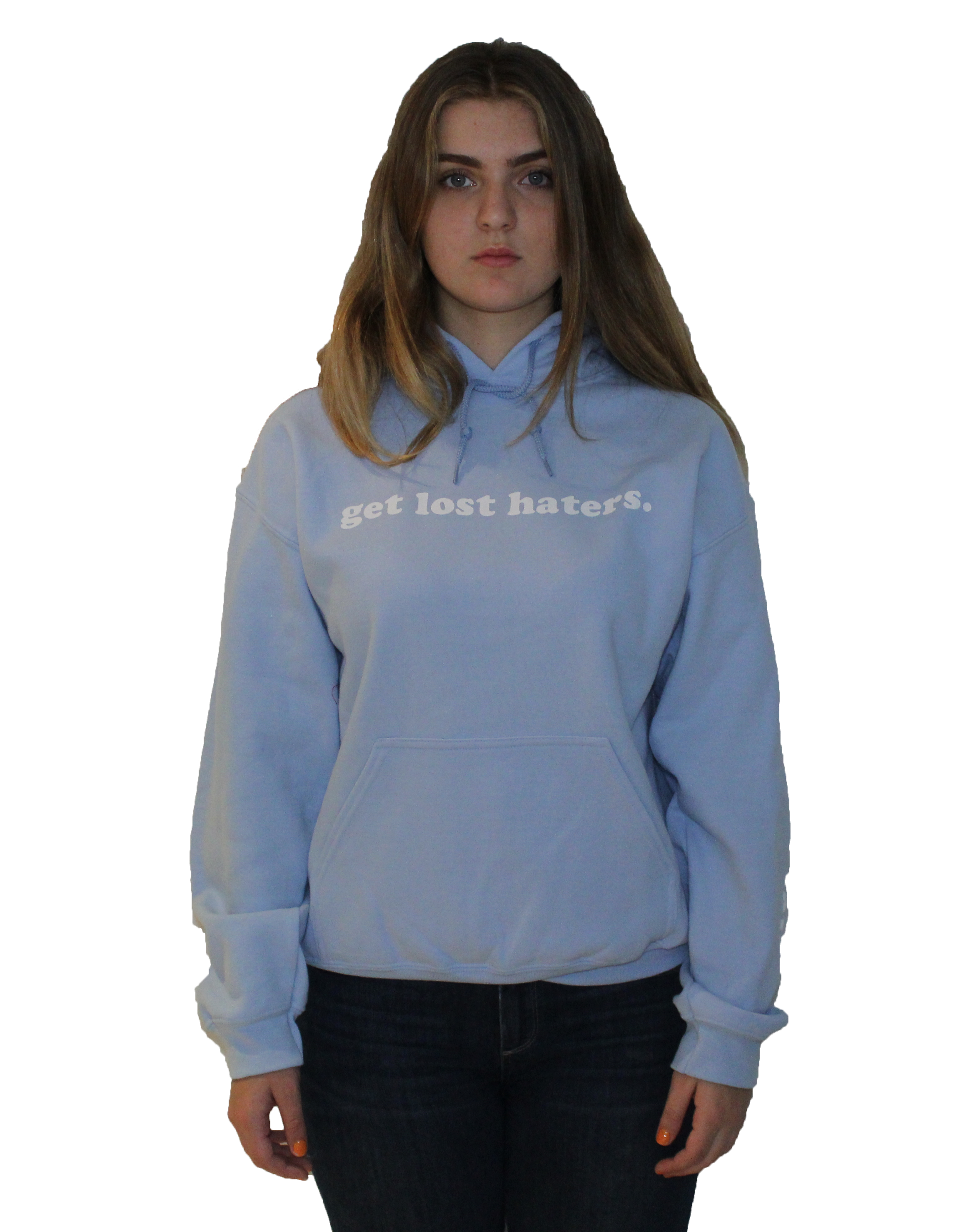 Get Lost Haters Hoodie Light Blue