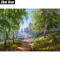 Forest Lane 50x38 3D diy diamond painting wall sticker diamond mosaic cross stitch needlework embroidery diamond embroidery