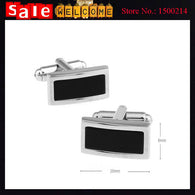 Charming Wedding Gift Silver Plated Baking Enamel Cufflinks Rectangle Men's Black Painting Shirt Sleeve Nail Button Cuff Links