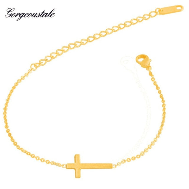 Dainty Christian Jesus Bracelet Gold Color Cross Bracelets For Women Bff Gift Stainless Steel Chain Vintage Jewelry 2019