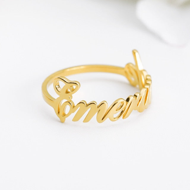 Custom Name Ring Personalized Gold Stainless Steel Rings For women кольцо Bijoux Femme Wedding Band Custom Letters Initials Ring