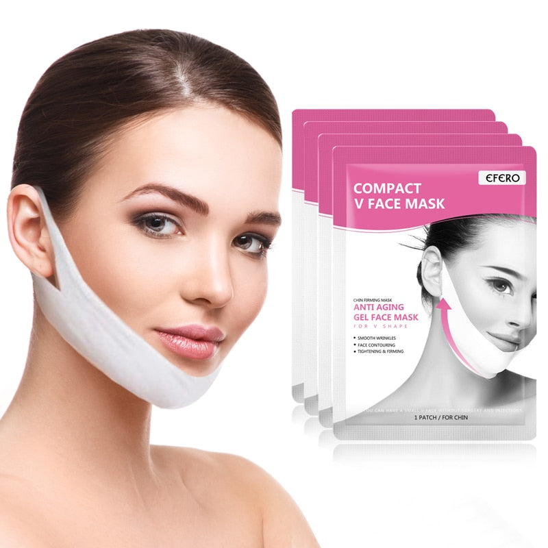EFERO Face Mask Lift Firming Hydrating Gel Mask Lift Up V Shape Face Slimming Skin Care Thin Mask Bands Reduce Double Chin 4Pcs