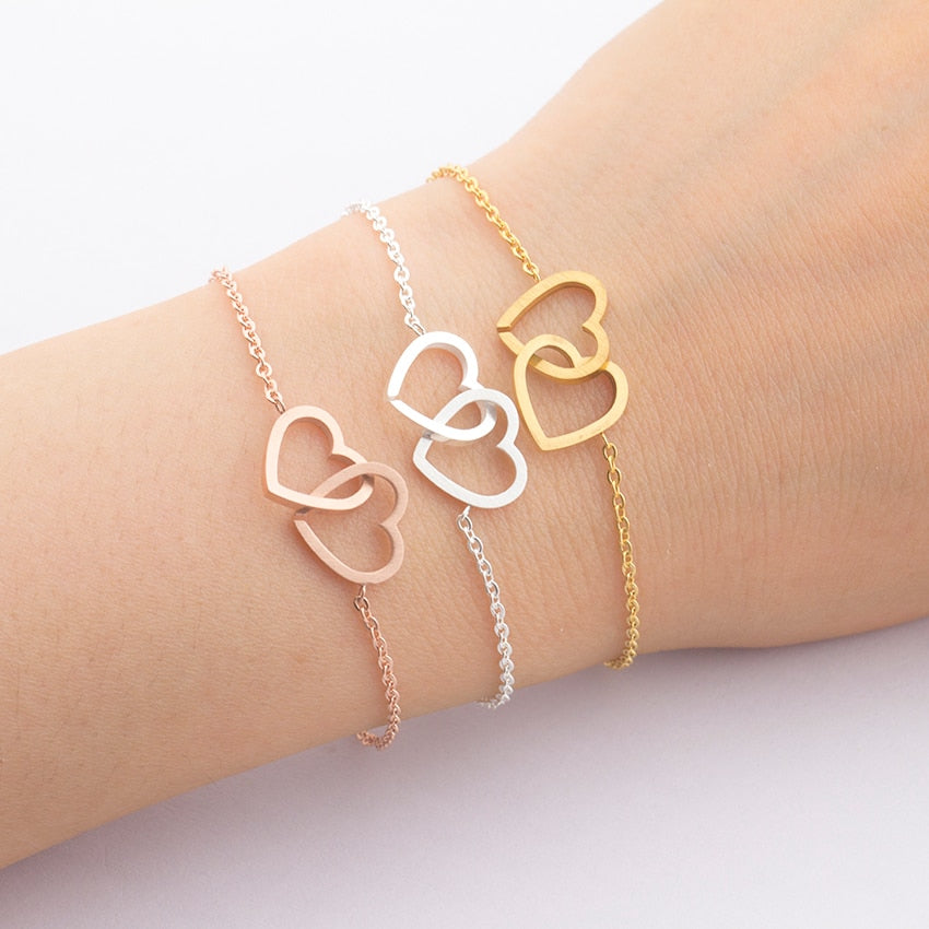 Stainless Steel Dainty Double Heart Bracelet Femme Rose Gold Chain Couple Bracelets For Women Jewelry Pulseras Bridesmaid Gift