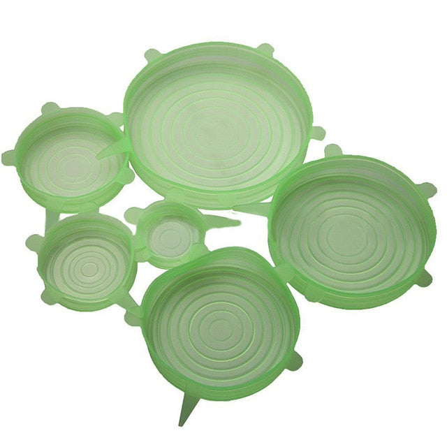 6Pcs/Set Universal Stretchable Silicone Wrap Cover Lids.