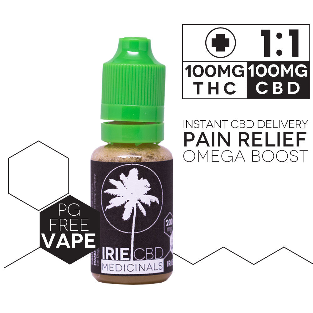 IrieCBD Medicinals 1:1 Vape Oil - 100mg Cannabinoids PG-Free (Natural Flavor)