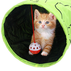 Foldable Green Printed Cat Tunnel With Fun Ball
