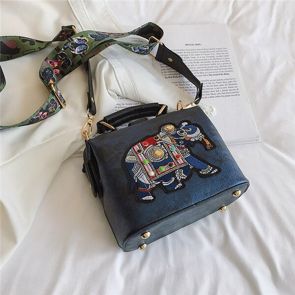 Ryuko Embroidery Elephant Bag - Blue - MallJumbo.com