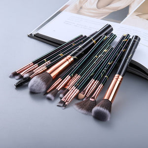 Attractz™ - 15 Piece Marble Brush Set - Black Marble - MallJumbo.com