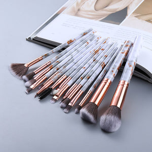 Attractz™ - 15 Piece Marble Brush Set - White Marble with Gold Line - MallJumbo.com