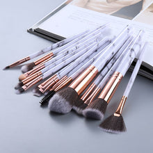 Load image into Gallery viewer, Attractz™ - 15 Piece Marble Brush Set - White Marble with Black Line - MallJumbo.com