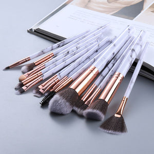 Attractz™ - 15 Piece Marble Brush Set - White Marble with Black Line - MallJumbo.com
