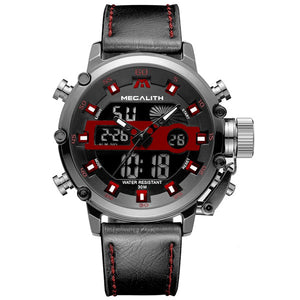 Medatsu Chronograph Watch - Red-Black Leather - MallJumbo.com