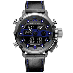 Medatsu Chronograph Watch - Blue-Black Leather - MallJumbo.com