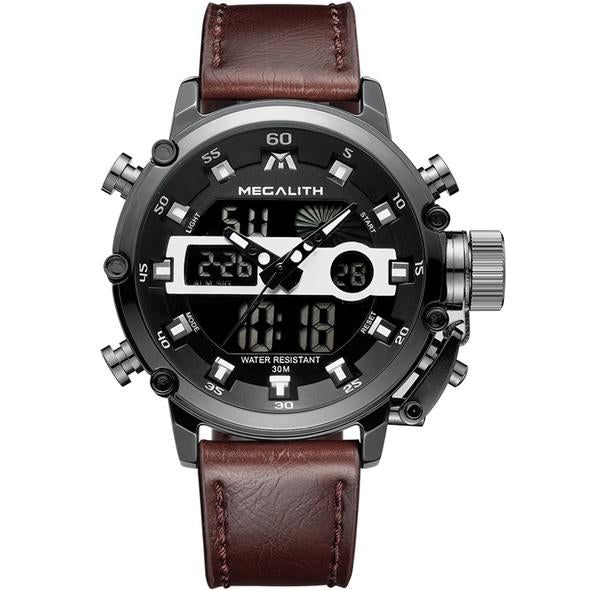Medatsu Chronograph Watch - Black Case Brown Leather - MallJumbo.com