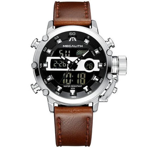 Medatsu Chronograph Watch - Silver Case Brown Leather - MallJumbo.com