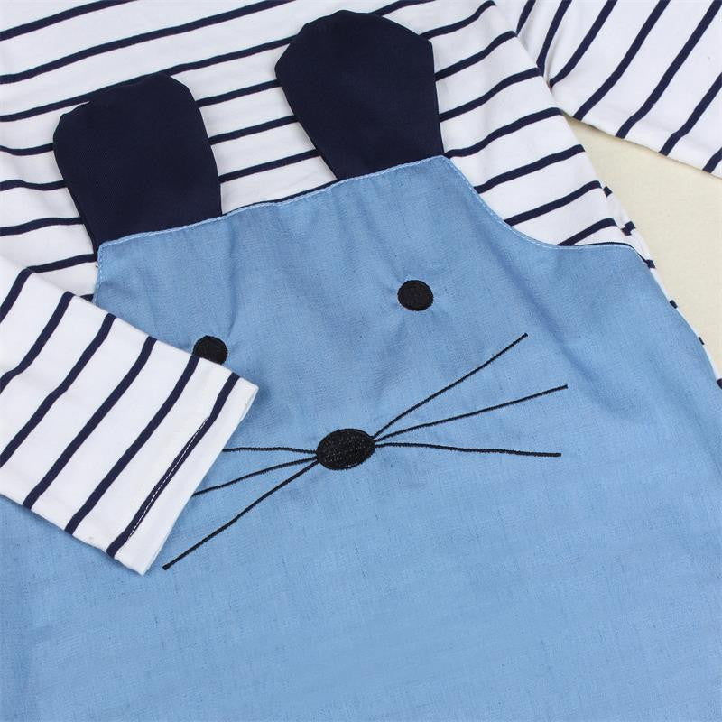 Striped Denim Girl Dress with Cute Mouse Patched (Long or Short Sleeve Available)