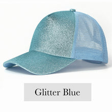 Load image into Gallery viewer, Fabulous Ponytail Cap - Glitter Edition - Blue - MallJumbo.com