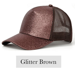 Fabulous Ponytail Cap - Glitter Edition - Brown - MallJumbo.com