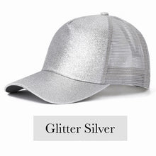 Load image into Gallery viewer, Fabulous Ponytail Cap - Glitter Edition - Silver - MallJumbo.com