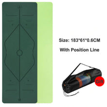 Load image into Gallery viewer, Position Line Yoga Mat - 1 Set x (Green + FREE Carrier Bag) - MallJumbo.com