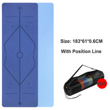 Load image into Gallery viewer, Position Line Yoga Mat - 1 Set x (Blue + FREE Carrier Bag) - MallJumbo.com