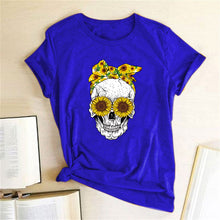 Load image into Gallery viewer, Skull Bandana T-Shirt - Blue / S - MallJumbo.com