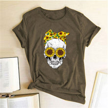 Load image into Gallery viewer, Skull Bandana T-Shirt - Brown / S - MallJumbo.com