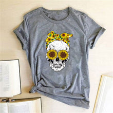 Load image into Gallery viewer, Skull Bandana T-Shirt - Grey / S - MallJumbo.com