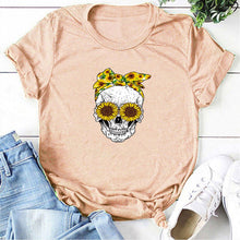 Load image into Gallery viewer, Skull Bandana T-Shirt - Peach / S - MallJumbo.com