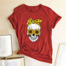Load image into Gallery viewer, Skull Bandana T-Shirt - Red / S - MallJumbo.com