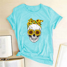 Load image into Gallery viewer, Skull Bandana T-Shirt - Sky Blue / S - MallJumbo.com