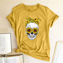 Load image into Gallery viewer, Skull Bandana T-Shirt - Yellow / S - MallJumbo.com