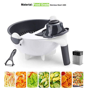Multi-Functional Vegetable Cutter With Rotating Drain Basket - MallJumbo.com
