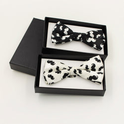 1pc Black and White Beard Mens Bowtie Printing Tuxedo Bow Tie For Wedding Formal Party Neckwear Adjustable
