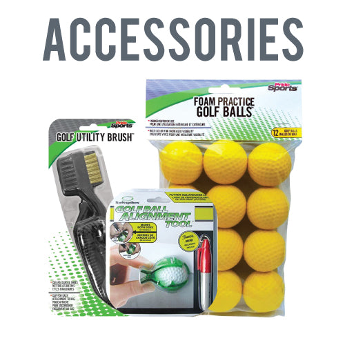 Accessories - Golf Utility Brush, Foam Practice Golf Balls, Golf Ball Alignment Tool
