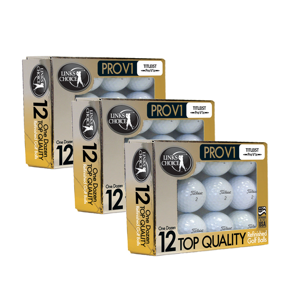 36 Titleist ProV1x 2017 AAAAA Mint Refinished Used Golf Balls Gold Foil Pack
