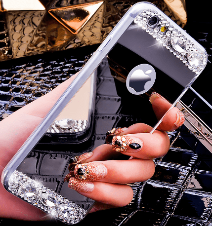 iPhone case, cell phone case, bling, mirror